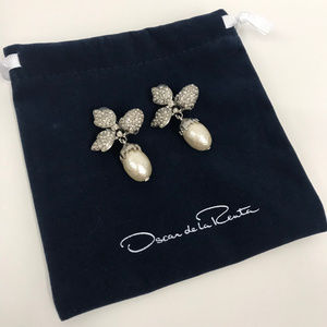 Oscar de la Renta Earrings Pearl 3 Leaf Crystals